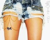 Thigh Chain Leg Chain Body Chain Titanium Rainbow Quartz