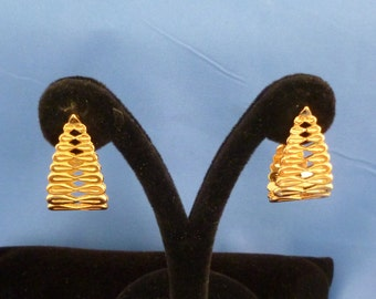 Gold tone pierced earrings