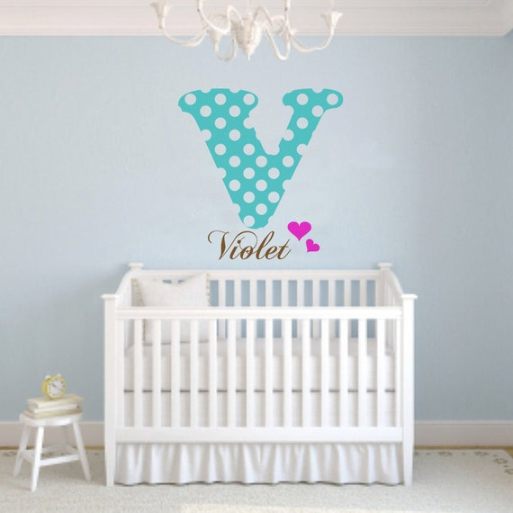 Personalized Initial & Name Vinyl Wall Decale Polka Dots, Big Girls Room Deco, Baby Room, Baby Nursery, Girls Room Decoration Gift - ID265a