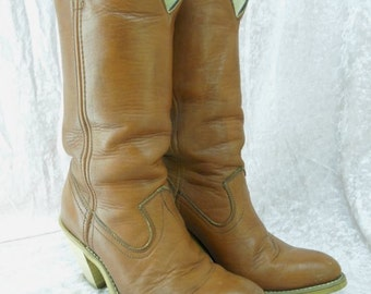 Vintage Brown Leather Cowboy Boots Women's Size 6