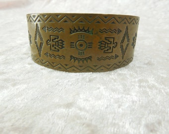 Copper Cuff Bracelet with Native American Indian Theme Design Bell Trading