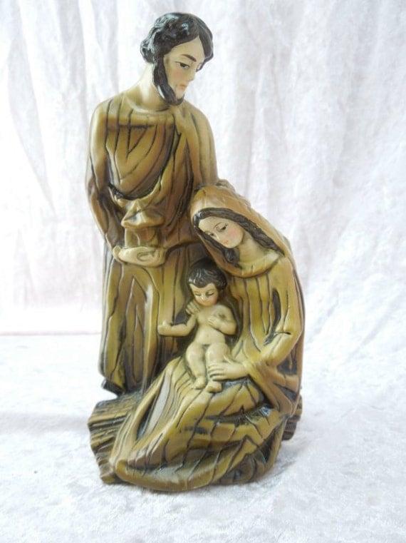 Mary Joseph And Baby Jesus Paper Mache Statue Figurine In