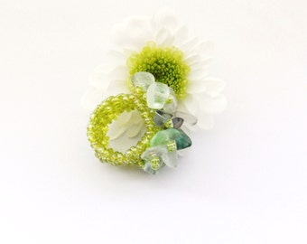 Green Ring - Adjustable Ring - Green Fluorite Chips Ring -  Handmade Jewellery