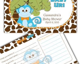 Monkey Baby Wish Book-Monkey Advice Card-Digital File
