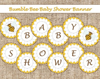 Brown Bumble Bee Baby Shower Banner-INSTANT DOWNLOAD
