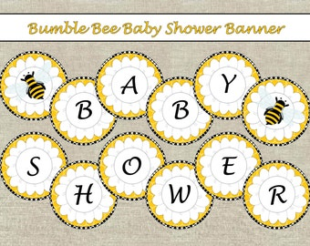 Bumble Bee Baby Shower Banner-Downloadable-Black & Yellow-INSTANT DOWNLOAD