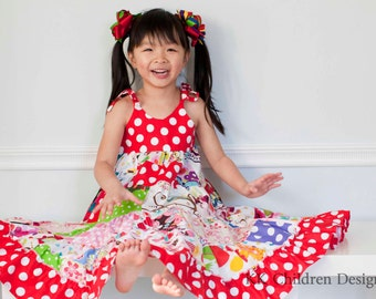 Rainbow Dress - Patchwork Rainbow Dress - Glamour Girl Dress - Birthday Party - Pageant Dress - Handmade - Special Occasions - 12M to 8