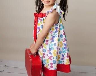 Dress - Maui Dress - Summer Dress - Twirl Dress - Butterfly Dress - Bow Dress - Girls Clothing - 70' Dress Pattern - 2T to 8 - Handmade USA
