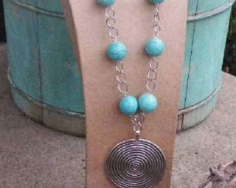 Chunky Turquoise Necklace with Silver Spiral...Country Boho Collection...Western Jewelry