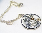 Cogs and Gears Necklace Steampunk Resin See through Pendant