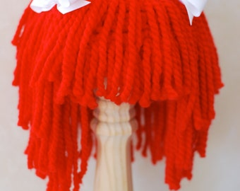 Yarn Hair Wig Red with White Ribbons Raggedy Ann