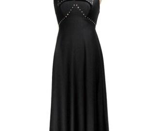 vintage 1970s rhinestone collar maxi dress / black / sleeveless / starbursts / prom party dress / women's vintage dress / size 7