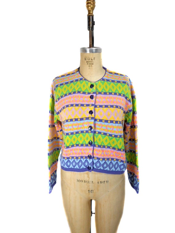 1980s United Colors of Benetton Cardigan Sweater / Colorful / Button