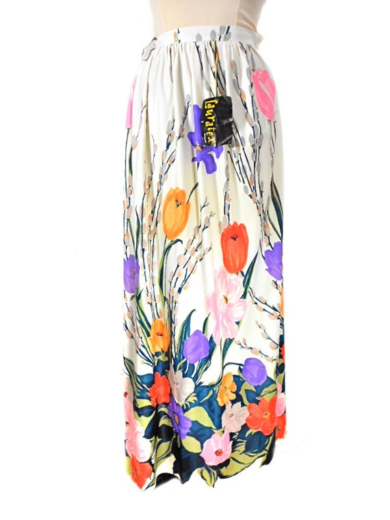 1960s Lauratex Floral Maxi Skirt - Long Skirt - Deadstock NWT NOS - Spring Summer Skirt - Tulips Flowers - Mad Men - Size Small