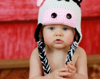 Crochet Cow Hat with bow, black and white, newborn up to adult, Made to Order