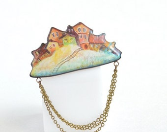 City on a cloud brooch pin, house brooch, fashion jewelry, gift idea for her