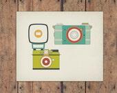 Retro Vintage Camera 8x10 Art Print