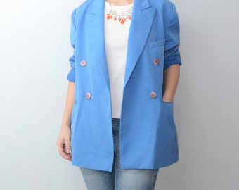Vintage electric blue 90s women blazer / jacket