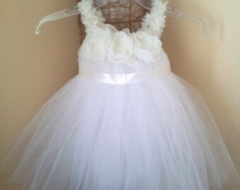 White and Ivory Tutu Dress 2T/3T with a matching headband/Ivory and White Flower Girl Dress 2T /Ivory Special Occasion Tutu Dress 2T