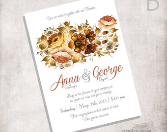 Printable Wedding Invitation or Bridal Shower / FILE ONLY