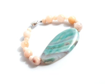 Agate and Peach Jade Statement Bracelet- Spring, Summer, Beach Inspired