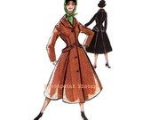 Vintage Sewing Patterns Plus Size (or any size) 1956 Overcoat Swing Coat - PDF - Pattern No 43 Denice
