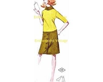 Plus Size (or any size) Vintage 1969 Dress Pattern - PDF - Pattern No 44 Bridget