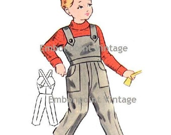 Plus Size (or any size) Vintage 1950s Overalls Pattern - PDF - Pattern No 163 Michael