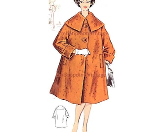 Plus Size (or any size) Vintage 1950s Swing Coat Pattern - PDF - Pattern No 88 Alice