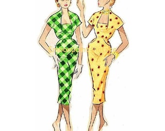 Plus Size (or any size) Vintage 1949 Wiggle Dress Sewing Pattern - PDF - Pattern No 63 Dale