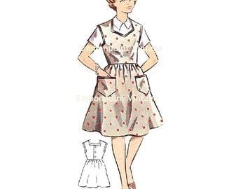 Plus Size (or any size) Vintage 1950s Pinafore Dress Pattern - PDF - Pattern No 134 Julia