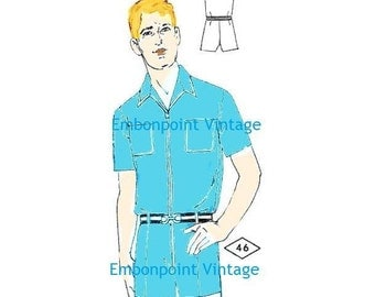 Plus Size (or any size) Vintage 1969 Men's Playsuit Pattern - PDF - Pattern No 46 Eric