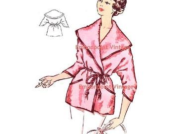 Plus Size (or any size) Vintage 1950s Beach Coat Pattern - PDF - Pattern No 121 Stephanie