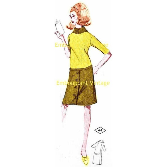 Plus Size (or any size) Vintage 1969 Dress Pattern - PDF - Pattern No 44 Bridget
