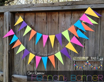 Girly Rainbow Pennant Banner/ Triangle Garland- Bright Pink, Turquoise Blue, Orange, Lime Green, Purple, Yellow