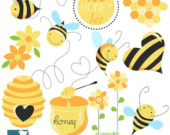 Honey Bee Digital Clipart - Scrapbooking , card design, invitations, photo booth, web design - INSTANT DOWNLOAD