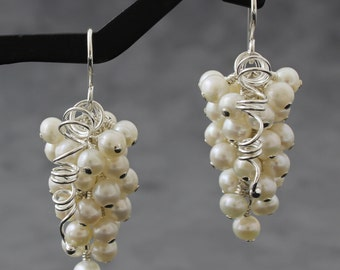 White Pearl Grape Cluster Earrings, Sterling Silver, Wire-Wrapped Jewelry, Lori's Vineyard, TeddiHosmanDesigns, Jewelry for Confident Women