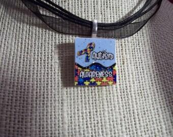 Glitter Autism Awareness Puzzle Ribbon blue background handcrafted Scrabble Tile Pendant Necklace