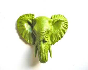 Faux Taxidermy Small Elephant Wall Hanging in chartreuse
