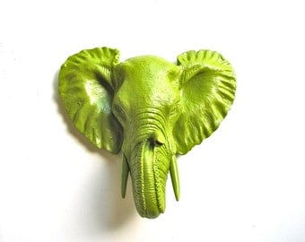 CHARTREUSE Small Faux Taxidermy Elephant Wall Hanging wall mount / safari animal / kids room decor / nursery decor / office wall decor