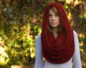 Oversized Hooded Cowl, Crochet Infinity Scarf, Dark Red, Maroon Chunky Cowl