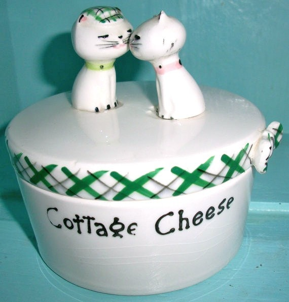Vintage Holt Howard Cozy Kitten Ceramic Cottage Cheese Covered Dish, Container, Collectible, Kitchenware Shabby Chic Cottage Chic