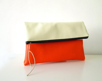 Clutch purse Foldover,  Color Block, Cream and Orange, Bridesmaids gift, Wedding