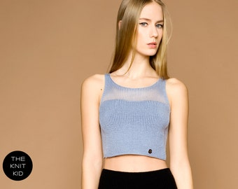 knitted top bustier bleu mohair merino transparent mohair merino THE KNIT KID light grey blue bulky theknitkid