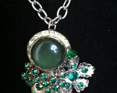 Vintage Pearl, Silver, and Green Rhinestone Charm Necklace