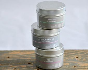 Exotic Scents Soy Candle Tin Set of 3 - Coconut Hibiscus - Fig - Oakmoss