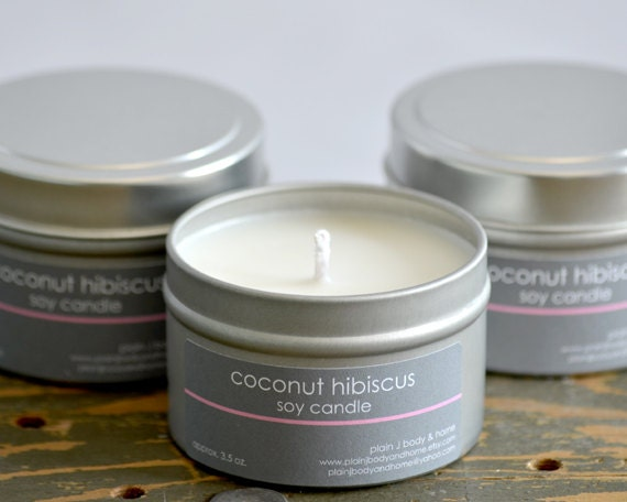 Coconut Hibiscus Soy Candle Tin 4 oz. - tropical soy candle - summer scent candle - food soy candle - coconut soy candle