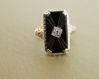 Antique Ring - Antique 14k White Gold Black Onyx and Diamond Filigree Ring