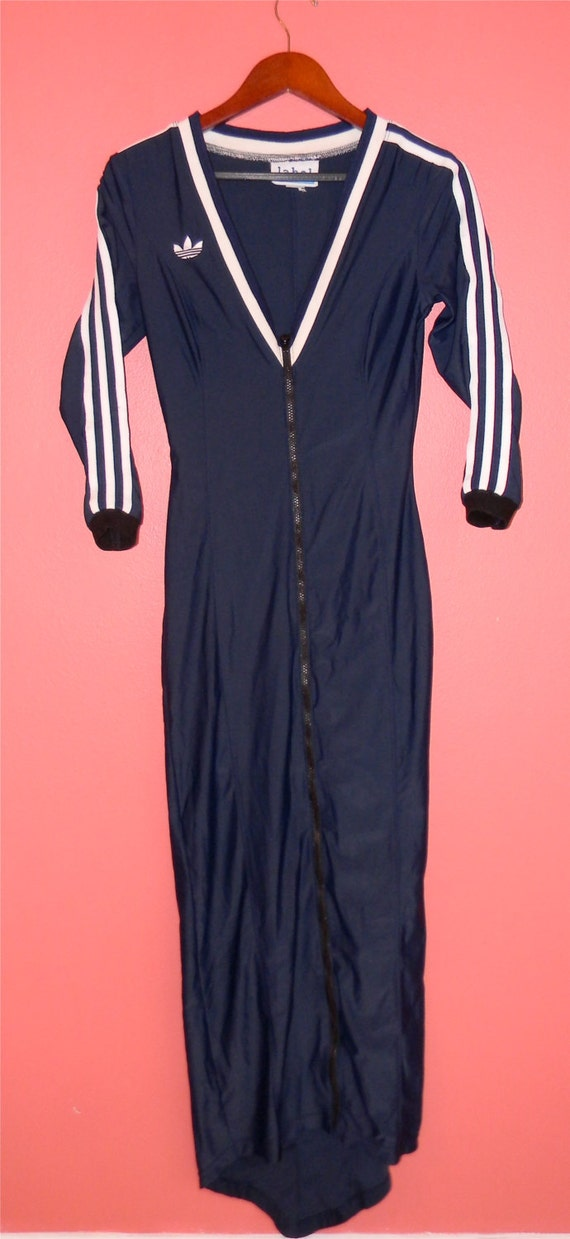 Vintage Dress Old School Fly Girl Dress Adidas Style Zip Front