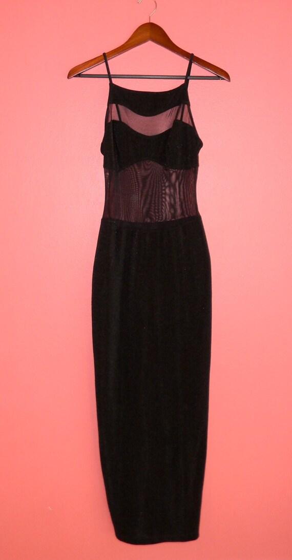 Vintage Dress 90s Black Sheer Mesh Body Con Sexy Maxi Grunge Revival Punk Goth Club Kid Dress
